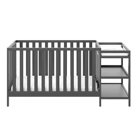 Storkcraft Pacific 4-in-1 Convertible Crib and Changer - 2 Open Shelves, Water-Resistant Vinyl Changing Pad with Safety Strap