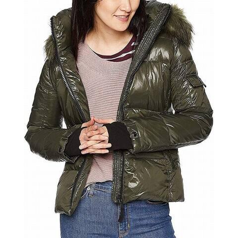 S13 York Womens Coat Green Size Medium M Faux Fur Hooded Puffer