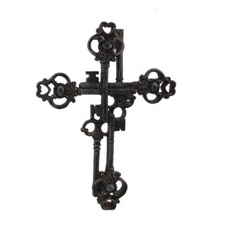 Rustic Brown Antique Keys Decorative Wall Cross