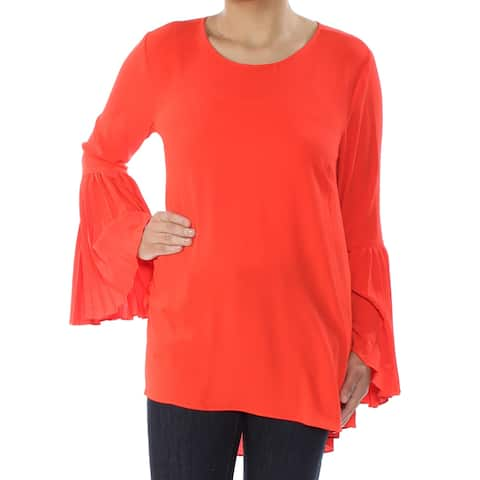 VINCE CAMUTO Womens Orange Bell Sleeve Scoop Neck Top Size: S