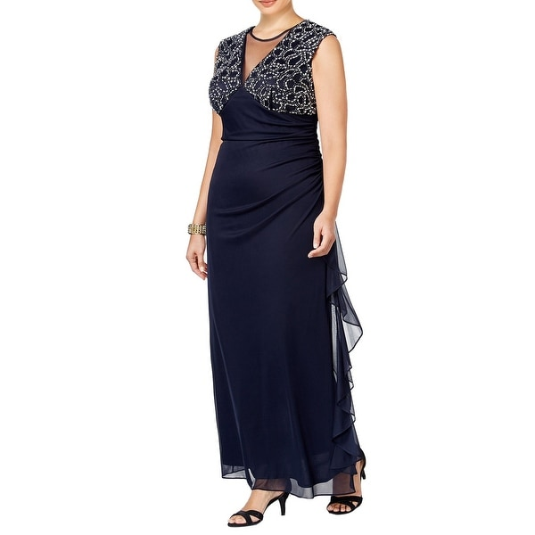 Betsy Adam Plus Size Embellished Ruched Illusion Evening Gown Dress