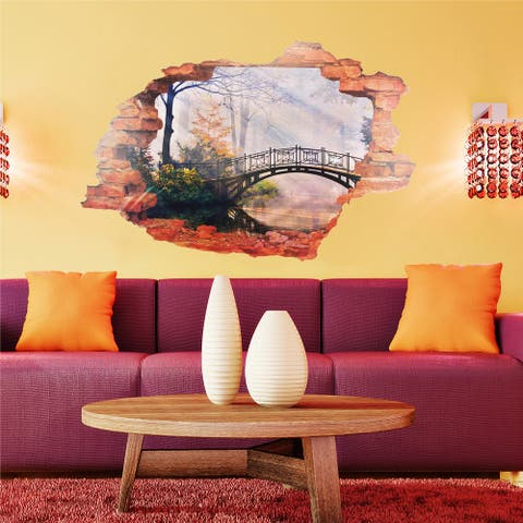 Walplus 3D View Window Romantic Forest Wall Sticker Decal Home Decor