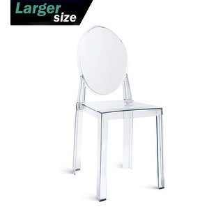 2xhome LARGER Clear Plastic Armless Side Chairs Crystal Designer For Wedding Kitchen Desk Home Office Outdoor UV Indoor