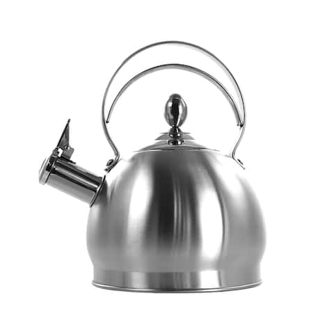 MegaChef 2.8 Liter Round Stovetop Whistling Kettle in Brushed Silver