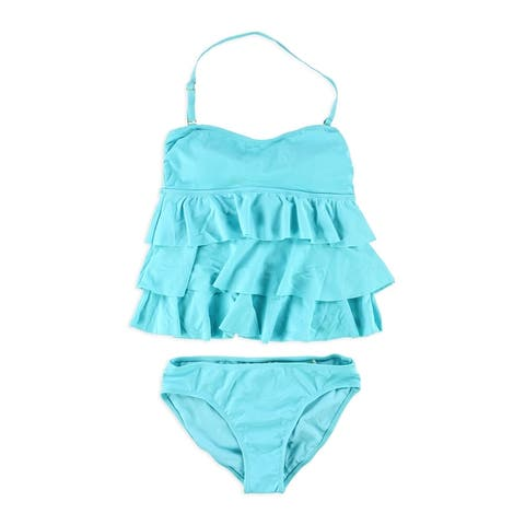 Island Escape Womens Tiered Ruffle Brief 2 Piece Bandini, blue, 6
