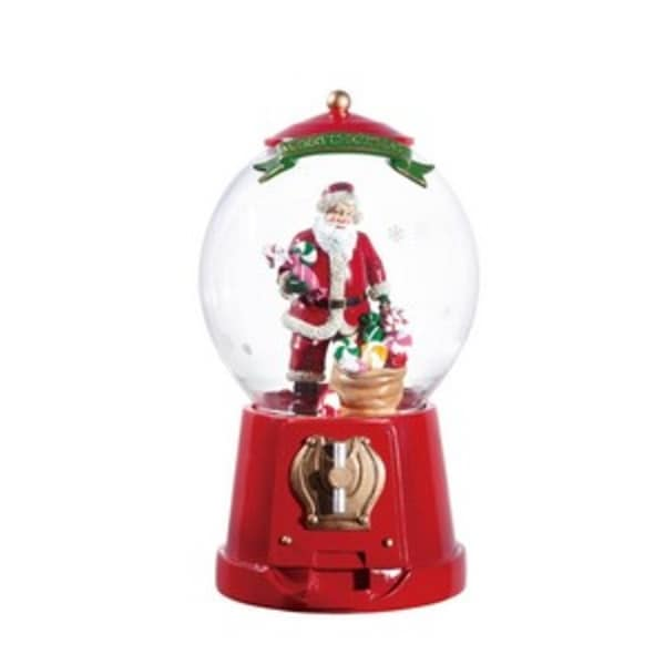 """Pack of 2 Icy Crystal Animated Musical Santa Gumball Machine Figurines 10.25"""""""