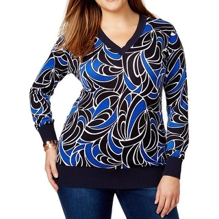 MICHAEL Michael Kors Womens Plus Blouse Printed Ribbed Trim - 0X