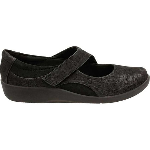 Clarks Ladies Sillian Bella Black Synthetic Nubuck Cushioned Mary Jane Shoes