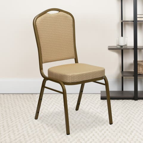 Crown Back Stacking Banquet Chair - Gold Frame