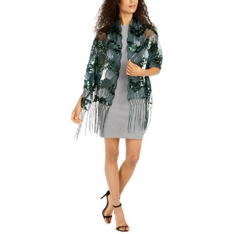 INC International Concepts Women's Art Deco Sequin Wrap, Emerald, One Size