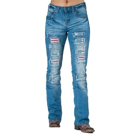 Cowgirl Tuff Western Denim Jeans Womens Independence Light Wash