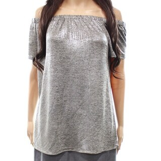 INC NEW Silver Women's Size XL Off-Shoulder Shimmer Solid Blouse