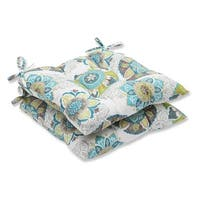 """Set of 2 Blue and Green Print Tufted Outdoor Patio Chair Cushions 19"""""""