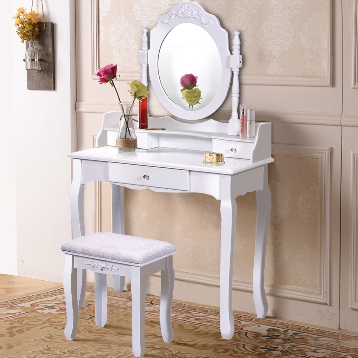Costway White Vanity Wood Makeup Dressing Table Stool Set bathroom With Mirror + 3 Drawer