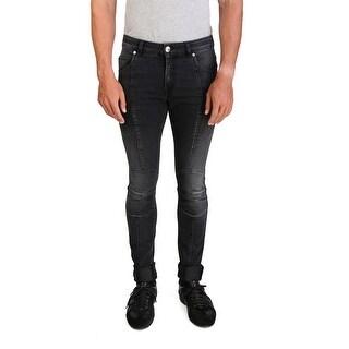 Pierre Balmain Men's Slim Fit Biker Denim Jeans Pants Black