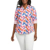 Foxcroft Womens Plus Butt-Up Leaf-Print Blouse
