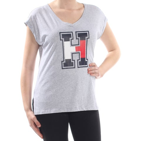 TOMMY HILFIGER Womens Gray Heather H Short Sleeve Scoop Neck Top Size: XXL