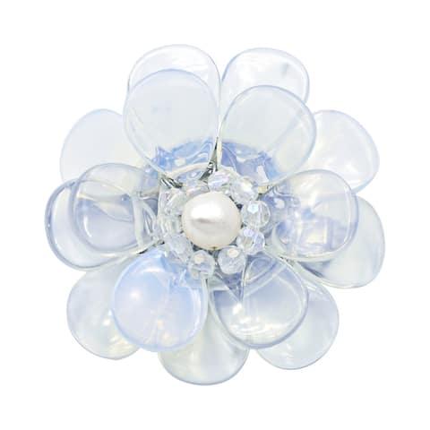 Handmade Luminous Flower Moonstone Pearl and Crystal Bead Brooch-Pin (Thailand)