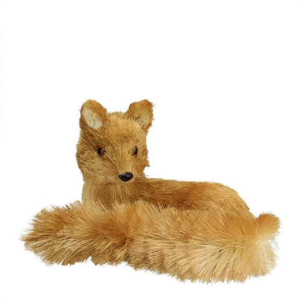 "11"" Rajah Orange Sisal Laying Fox Christmas Table Top Decoration"