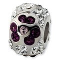 Sterling Silver Reflections White & Purple Crystal Flower Bead - Thumbnail 0