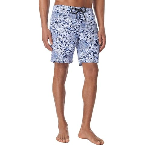 Tallia Sport Mens Leopard Animal Print Swie Board Shorts - White/Blue