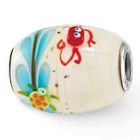 Sterling Silver Reflections Sea Life Catchn A Wave Fenton Glass Bead (4.5mm Diameter Hole)