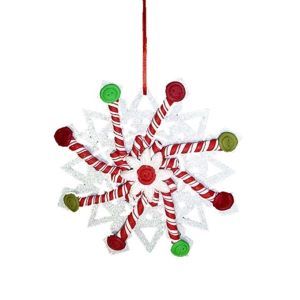 """5.5"""" Sweet Memories Glittered Button and Peppermint Snowflake Christmas Ornament"""