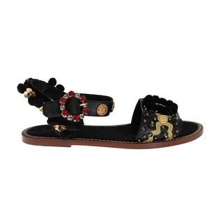 Dolce & Gabbana Dolce & Gabbana Black Leather PomPom Crystal Sandals