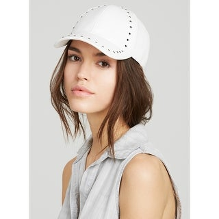 August Hat Company Ladies White Faux Leather Studded Baseball Cap One Size