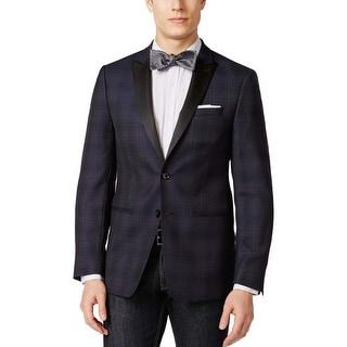 Calvin Klein Slim Fit Navy Blue Plaid Wool Evening Jacket 40 Regular 40R
