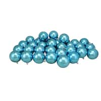 "32ct Turquoise Blue Shatterproof Shiny Christmas Ball Ornaments 3.25"" (80mm)"