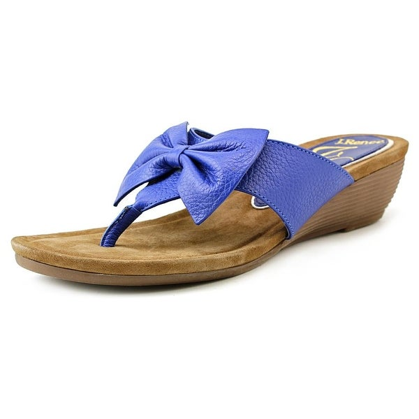 J. Renee Ayala Women Open Toe Leather Wedge Sandal