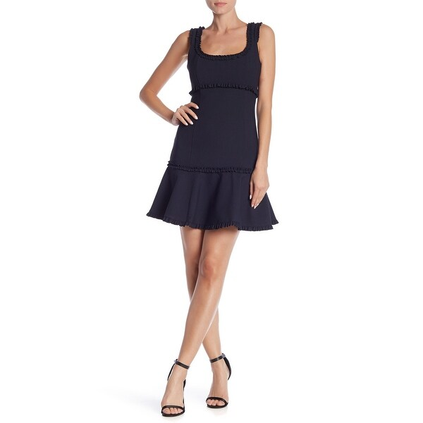 Eliza J Blue Women's Size 6 Ruffle Trim Flounce Sheath Dress
