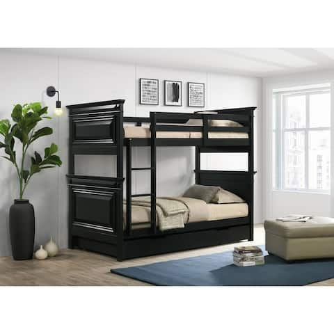 Picket House Furnishings Trent Twin over Twin Bunk Bed with Trundle in Antique Black