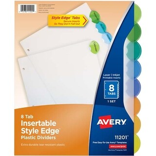 8 Multicolor Tabs; 1 Set - Avery Insertable Style Edge Plastic Dividers