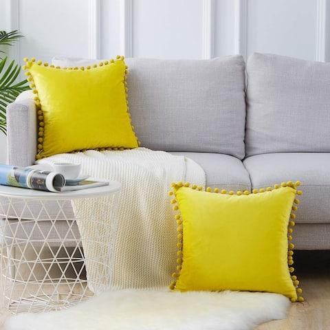 "HIGH-QUALITY Pom Pom Velvet Series Decorative Throw Pillow COVER For Couch, Bedroom, Sofa 18"" x 18"""