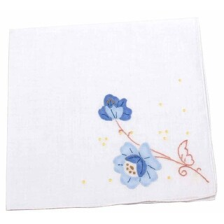 Bright Bouquet Floral Embroidered Cotton Handkerchief