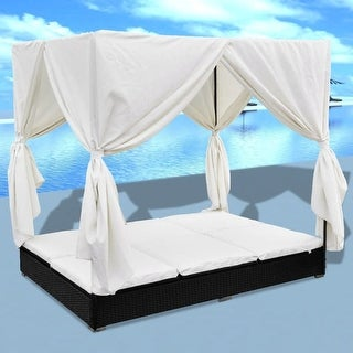 vidaXL Sun Lounger with Curtains Poly Rattan Black