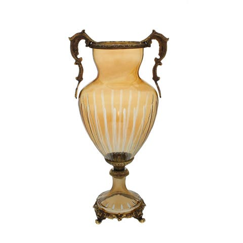 Amber Crystal and Brass Vase