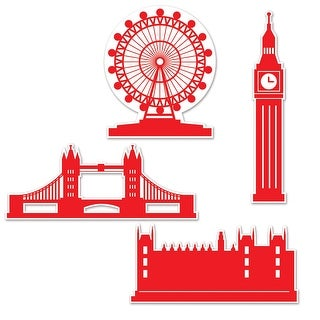 Club Pack of 48 Famous London Landmarks Party Silhouette Cut Outs - Red