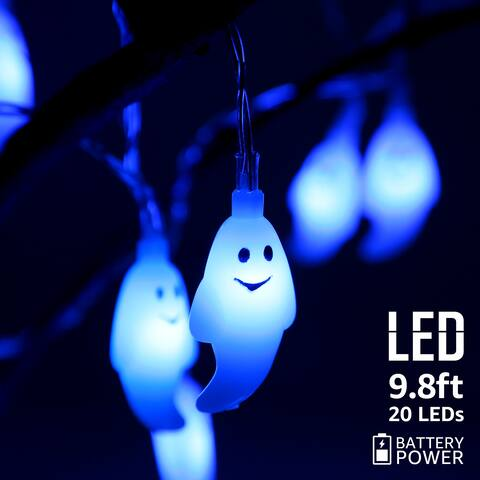Halloween Blue Ghost String Lights, 8 Modes