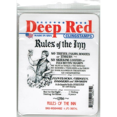 Deep Red Stamps Rules of the Inn Rubber Cling Stamp - 3 x 3