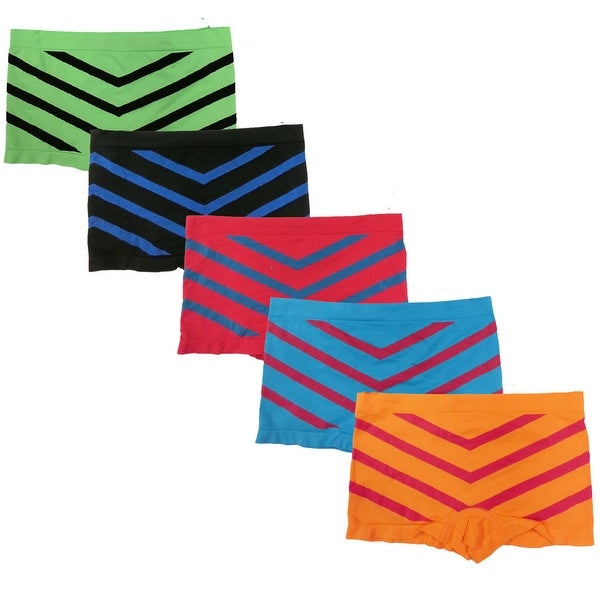 Women's 6 Pack Seamless Chevron Athletic Yoga Sports Boyshorts Panties