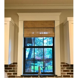 Arlo Blinds Petite Rustique Cordless Lift Bamboo Roman Shades with 60 Inch Height