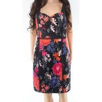 Guess Black Garden Floral Print Mesh Women's Size 12 Sheath Dress