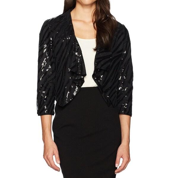 Kasper Black Womens Size 12 Sequin Flyaway Shawl Collar Jacket
