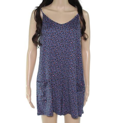 Moa Moa Junior Romper Blue Pink Size XS Jersey Knit Cheetah Print V-Neck