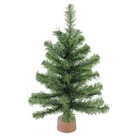 "18"" Mini Canadian Pine Artificial Christmas Tree in Faux Wood Base - Unlit - green"