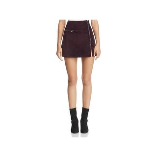 Blank NYC Womens Mini Skirt Velveteen Asymmetric Zipper