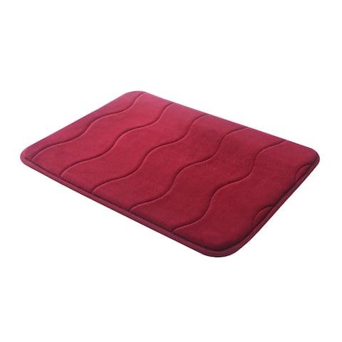 """Burgundy Wave Stitched Velvet Memory Foam Bath Runner 24""""x60"""" Fast Drying Non Slip"""